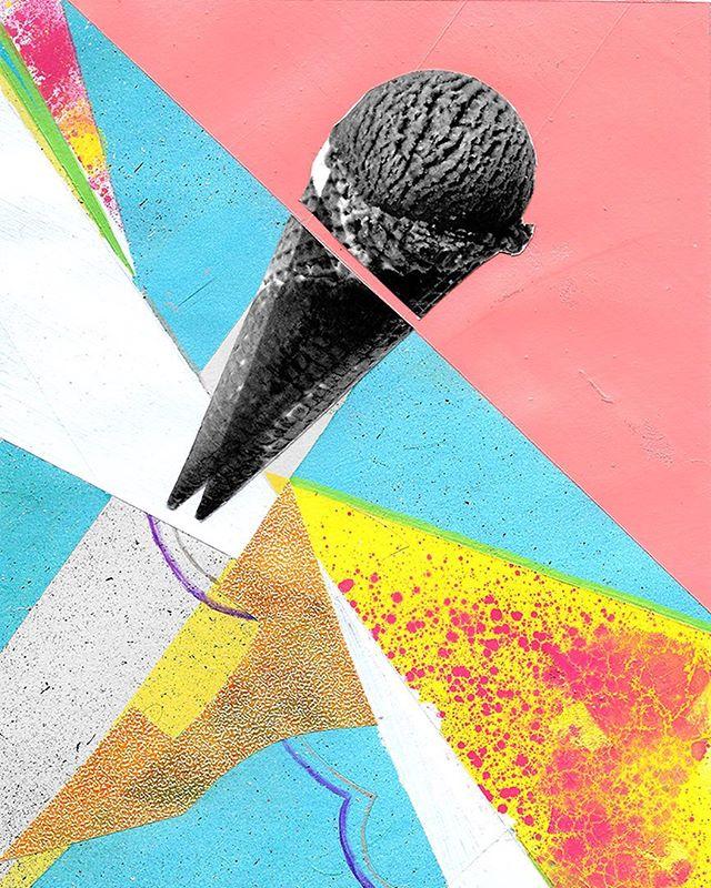 i scream, you scream, we all scream for...?👅🤪 . . #galleryart #contemporaryart #artist #art #color #collage #design #painting #paper #aprilwerle #icecream #popart #popculture #food #montana #missoula #missoulaartist
