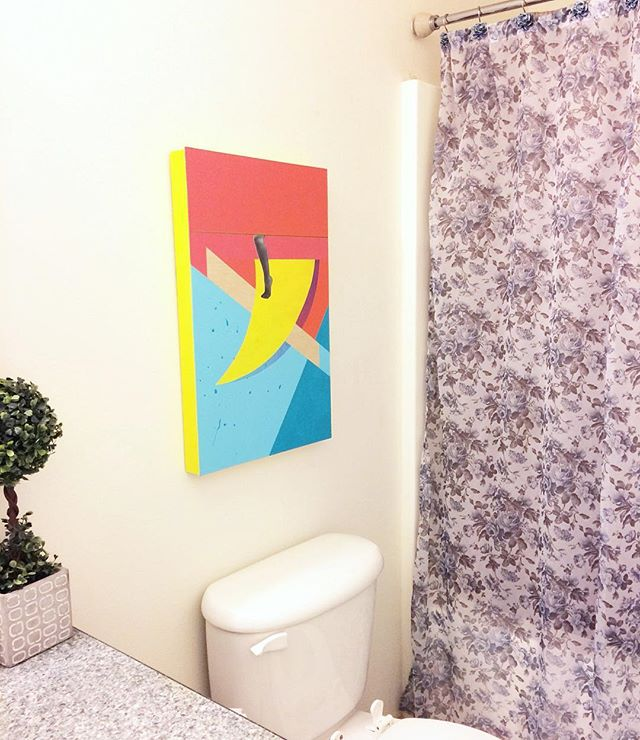 bathroom art! my mom never really understood the art I made after I delved away from realism. it wasn't until this first series that she got really excited about my work again. my goal in making art has been to find a middle ground of making conceptual and appealing work as I want more than other artists to relate to it. and thus was born my love for COLOR! 💥 and glad to finally find a place in her home for this. . . #art #artist #conceptualart #collage #bathroom #interiordesign #wallart #painting #visitmissoula #missoulamoment #helena #montana #missoulaartist #color #aprilwerle #artsed #artwatchers #partsofpaintings