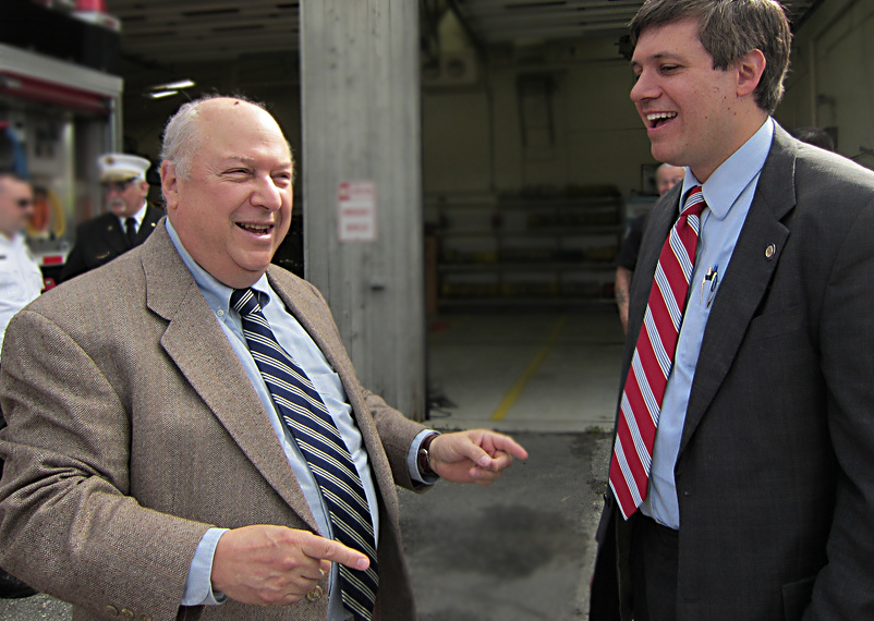 Rep. Max Gruenberg gets a laugh from Sen. Bill Wielechowski.