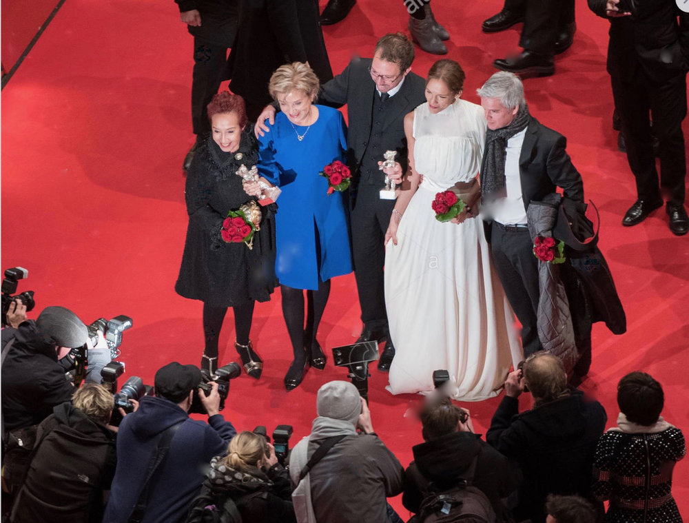 Team of The Heiresses after the 2018 Berlinale awards ceremony where the film won the Silver Bear 'Alfred Bauer award' and the Silver Bear for 'Best Actress' for Ana Brun.