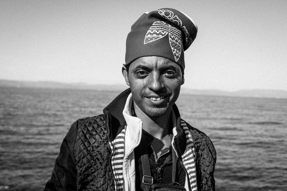 Portrait of a Syrian refuge Ahmed after making a crossing from Turkey to the Greek island of Lesbos.