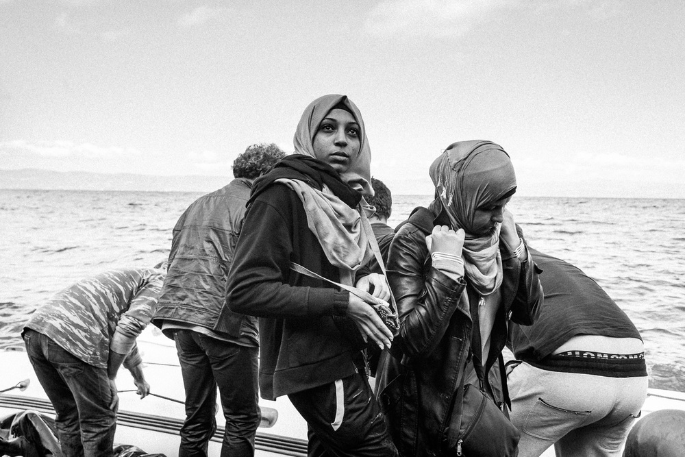 A migrant boat makes the crossing from Turkey to the Greek island of Lesbos.