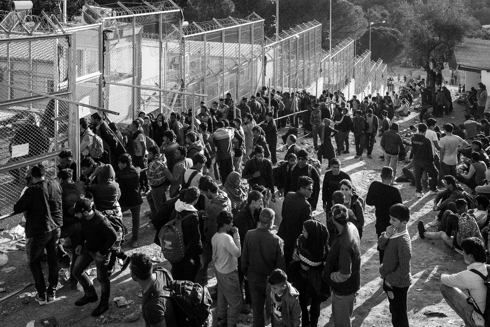 A barbed wire fence surrounds the Moria processing centre on the island of Lesbos.