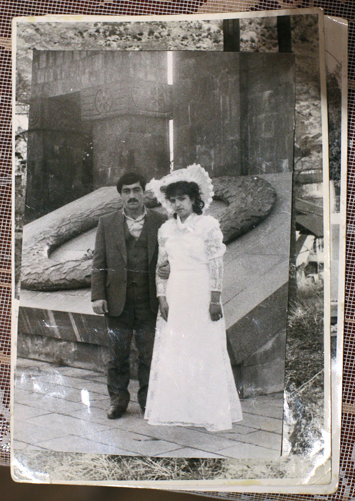 A photocopy of a picture taken on the wedding day of Garnik Arustamyan and his whife, Hasmik (age 35).