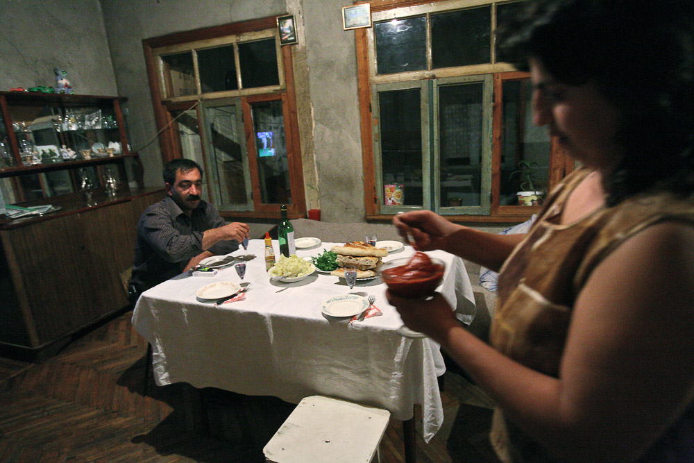 Garnik Arustamyan is having dinner in his house in Shushi.