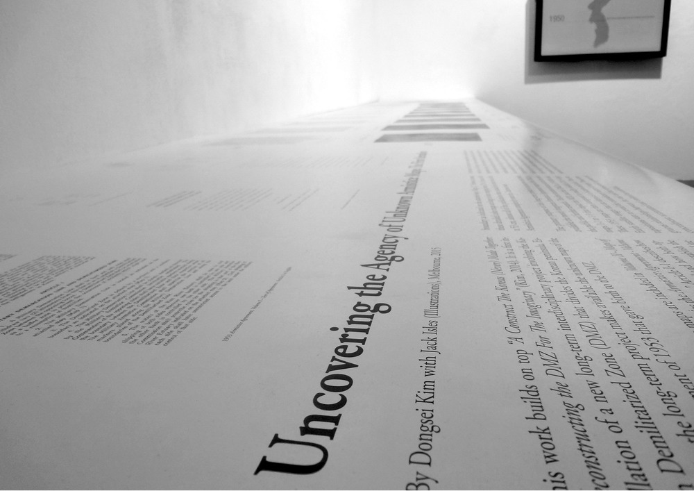 "[Image 6: Photo of ""Uncovering the Agency of Unknown Armistice Maps: The First Iteration"" installation in the  Making Border: Afterimages and Projections  exhibition. DNA Gallery, Berlin, Germany, 2015. Curated by Seoyoung Kim. Photo credit: Rosalie Bourgeois de Boynes, Seoyoung Kim, Jeonghoon Lee. Courtesy of DNA Gallery]"