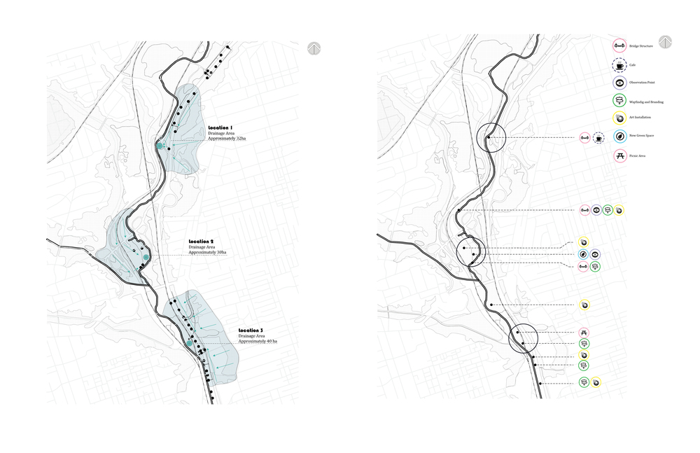 Figure 4 (L): Outfalls and the main drainage areas. The stormwater is conveyed first through the natural topography of the site, and then through the outfalls shown on the map.  Figure 5 (R): Lower Don Trail Master Plan: suggested programs on the study area.