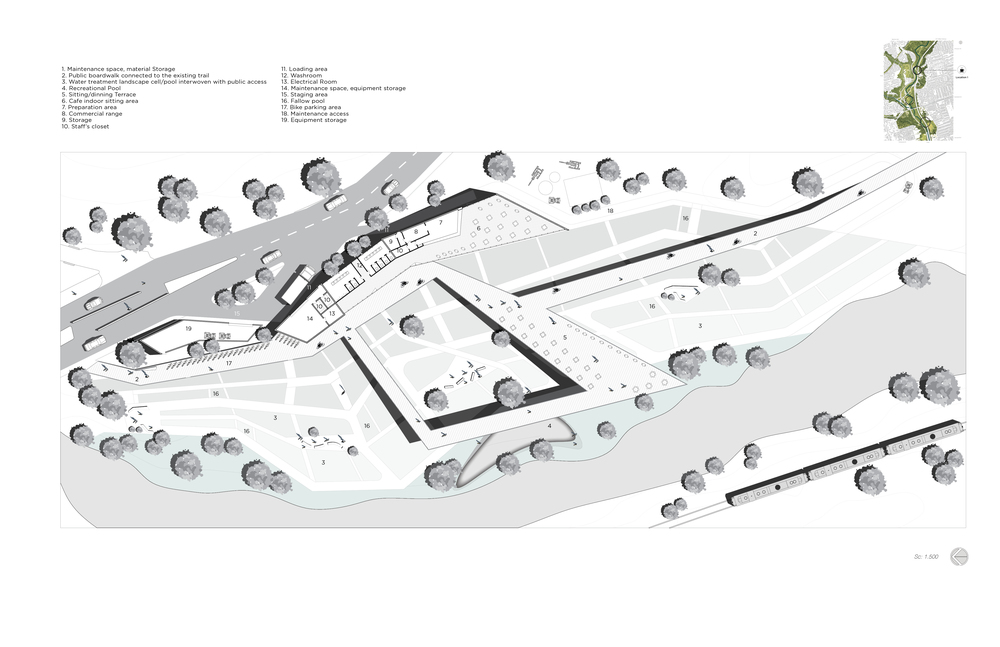 Figure 6: Site plan location 1 showing the main fabric of cellular pools and the basic geometrics of social activities.