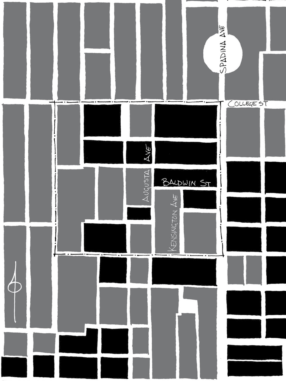 Figure 1: Plan showing the street and block patters of the Kensington Market neighbourhood (outlined) and surrounding area as laid out in 1924. The east-west blocks (black) are typical of earlier subdivisions, while the taller blocks (grey) represent later trends. Kensington Market lies at a point of confluence, containing an equal number of each.