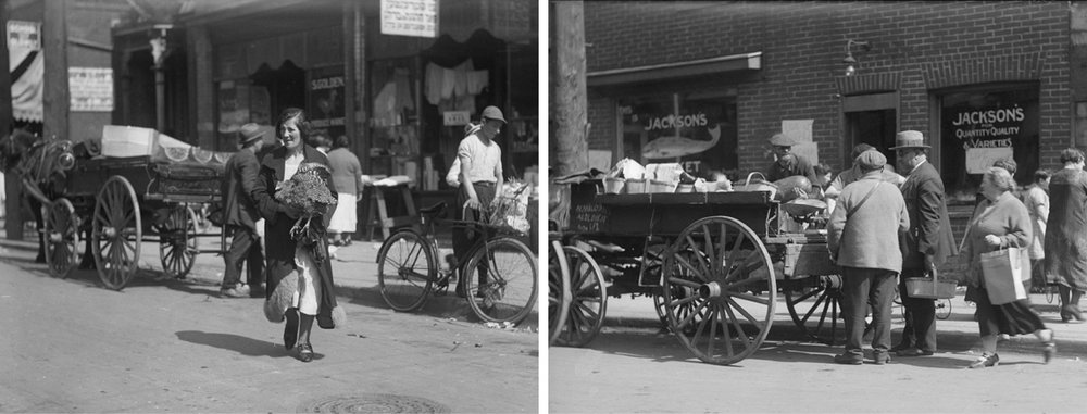 Figure 2: Archival Photographs from the 1920s showing the street vendors and live animals common to the Jewish Market. City of Toronto Archives, Fonds 1266, Item 8245; Fonds 1266 Item 8243