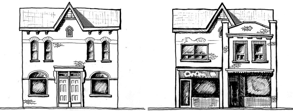 Figure 3: Drawing of a dwelling on Baldwin Street before and after commercial additions. The former is speculative.