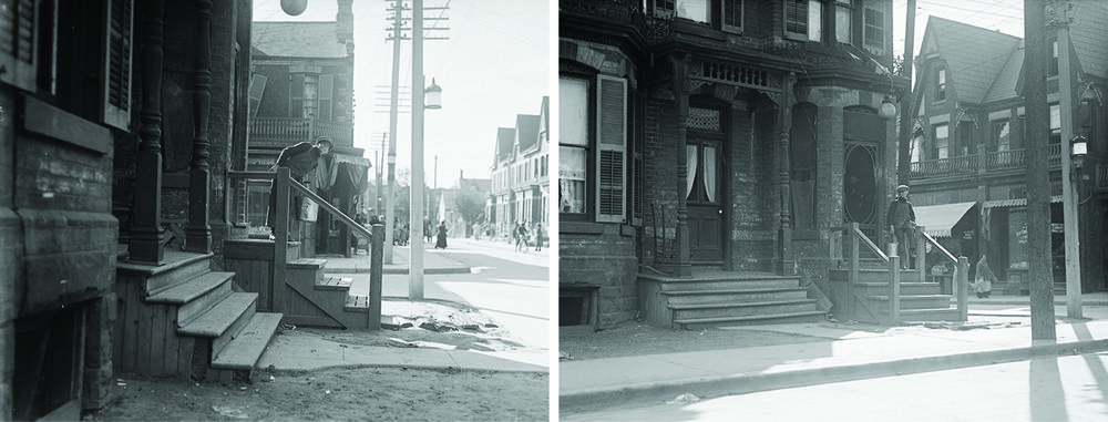 Figure 4: Archival photographs from 1919 showing storefronts added onto residences at Kensington Avenue and Baldwin Street. In the foreground a bay window has been converted to a doorway, indicating that single family homes were being used as apartments. City of Toronto Archives, Series 372, Sub-series 58, Item 834; Series 372, Sub-series 58, Item 835