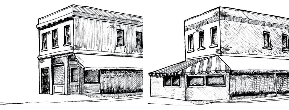 Figure 9: Drawing of a corner market at Baldwin Street and Augusta Avenue, as configured in 1932 and with enclosed café today.