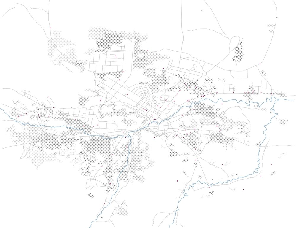 Image 4: Stages of informal development within the city creep up the hillsides of the region, while IED attacks (represented as dots) take place largely within the formal parts of the city, along major transportation infrastructure, 2017, Zannah Mae Matson