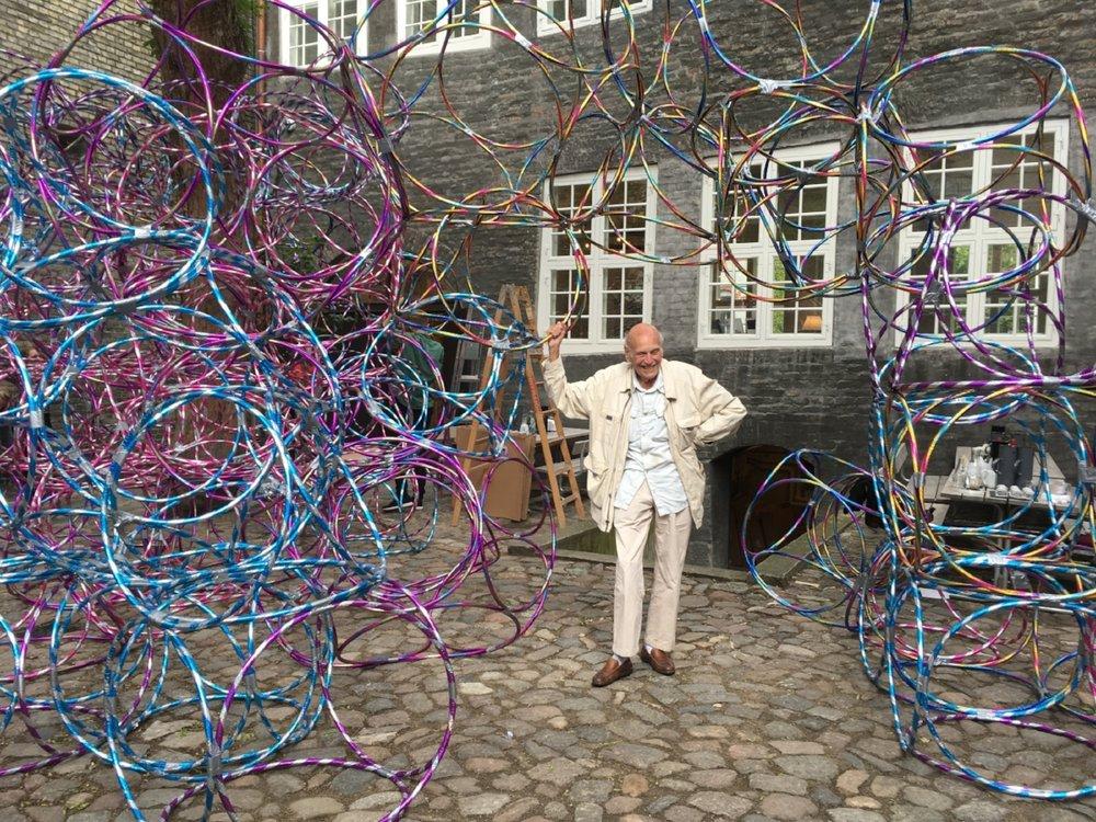 """Yona Friedman in front of """"Peoples Architecture"""", Arkitektforeningen, Copenhagen 2017. Photo by Aisling O'Carroll"""