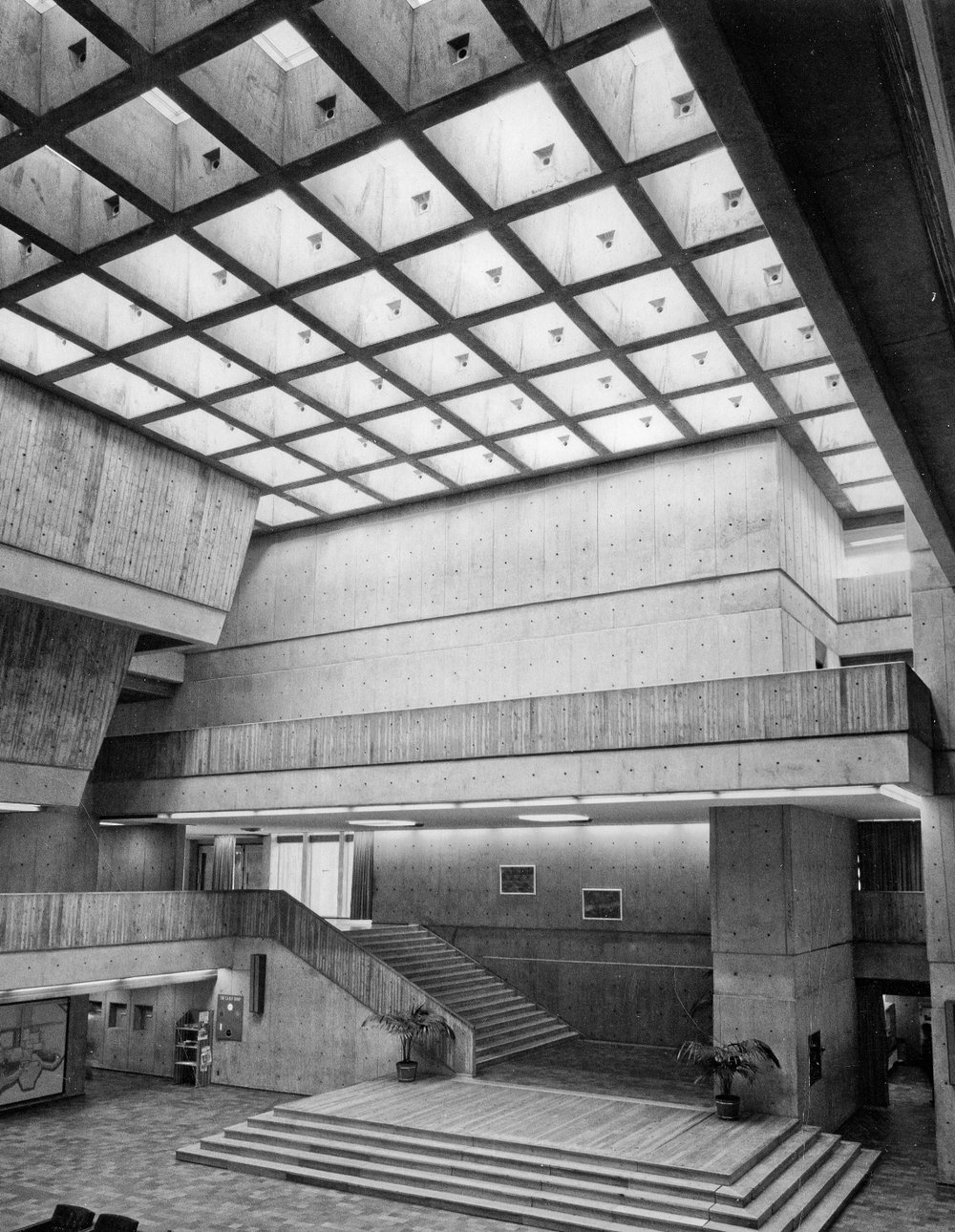 Image: Administration Building, Meeting Place with skylights & second, third, fourth floor walkways. University of Toronto Scarborough Campus. Image from the University of Toronto Scarborough UTSC Library