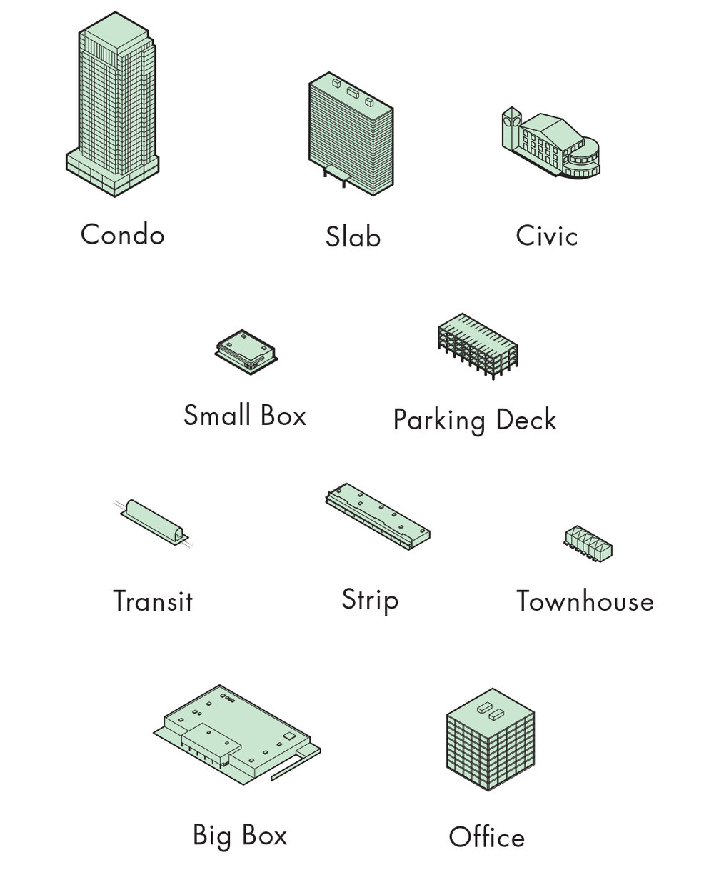 Image 6 / The Game Pieces—Architectural Types, 2015. Illustration by Emma Dunn, Michael Piper, and Zoe Renaud