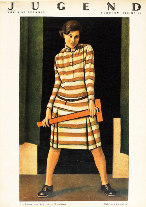"Nikolai Zagrekov, ""Girl with the t-square"" (portrait of Ursula Nachtlicht, daughter of the Jewish architect Leo Nachtlicht), cover image for Die Jugend 44, 1929"