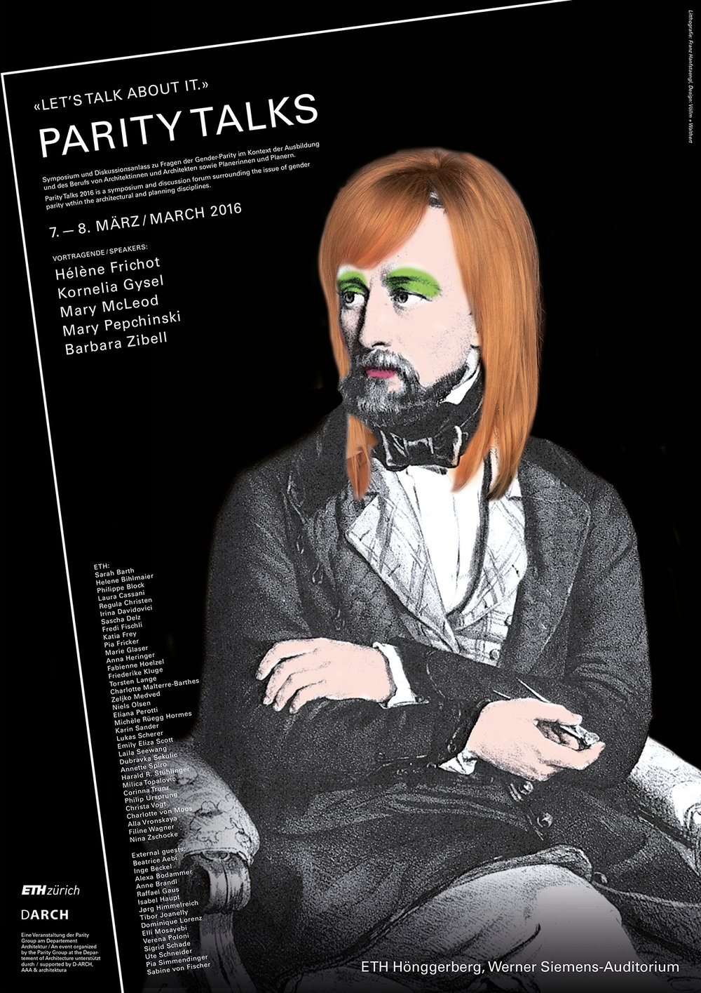 """Document 3, n.d.: Poster for """"Parity Talks,"""" designed by Ursina Völlm and Martina Walthert"""