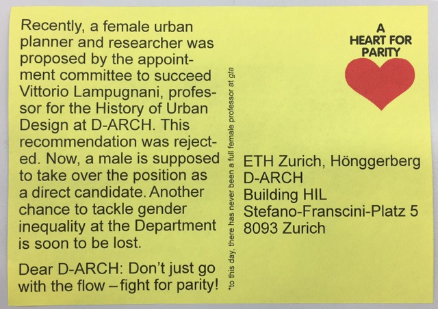 """Unknown, """"A heart for parity,"""" postcard and action, November 2017, ETHZ"""