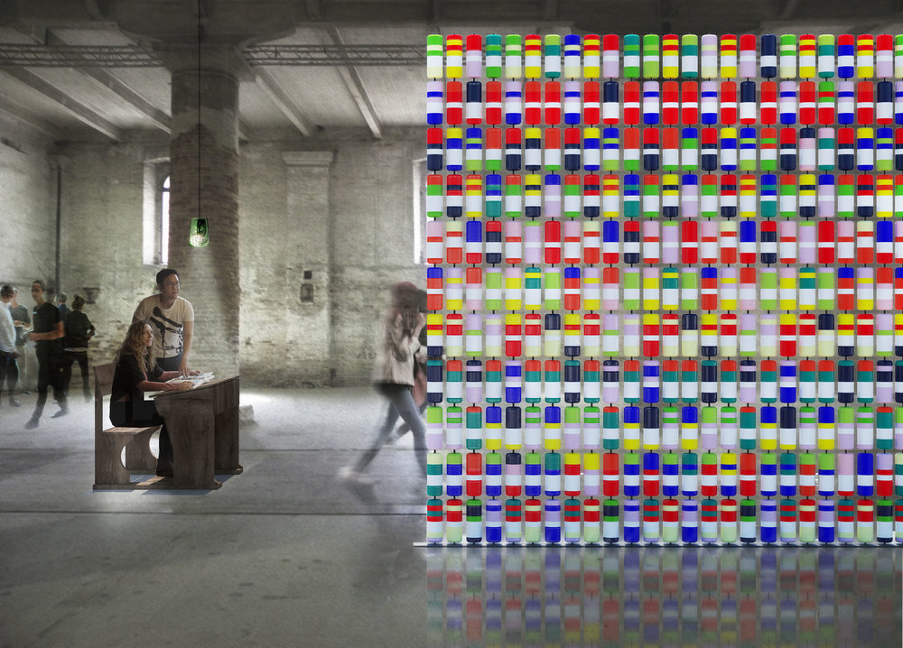 Installation rendering, The Registrar's Office, Venice Arsenale, 2017. Acre Architects