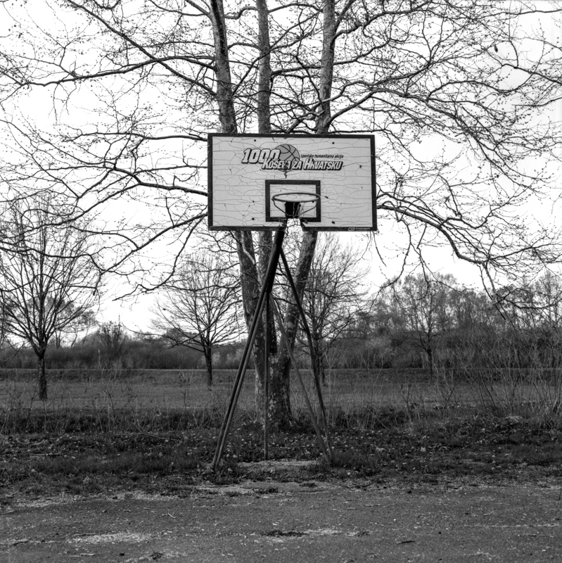 Forgotten basketball court in a Croatian town in the outskirts of the city of Zagreb.