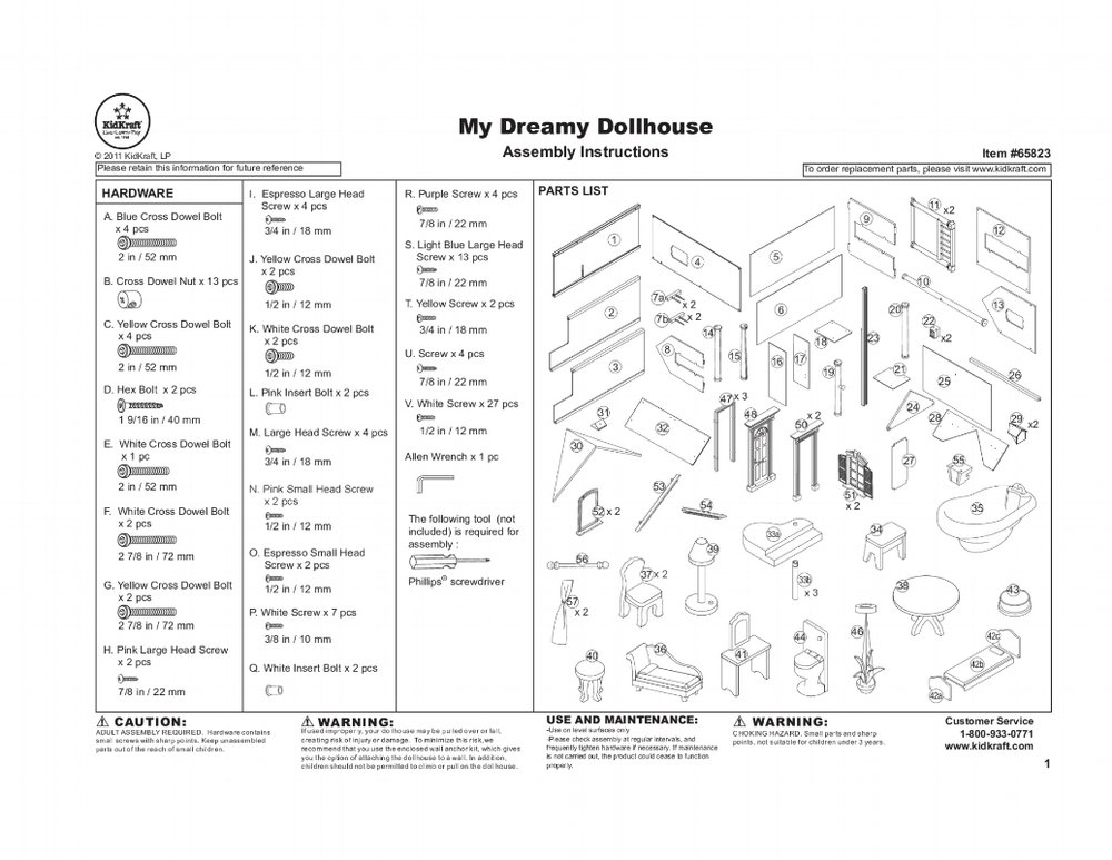 "Image 14 / Parts list, ""My Dreamy Dollhouse"" assembly kit by Kidkraft"