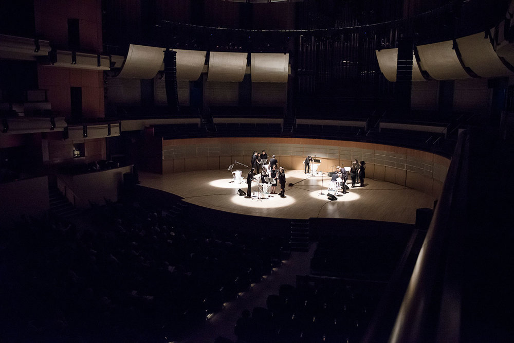 Postcommodity, Alex Waterman, invited Alberta Indigenous youth musicians, and Ociciwan perform  in memoriam... Mary Cecil, Victoria Callihoo (née Belcourt), and Eleanor (Helene) Thomas Garneau  at the Francis Winspear Centre for Music in Edmonton, July 18, 2017. Photograph by Kelsey McMillian, Laughing Dog Photography