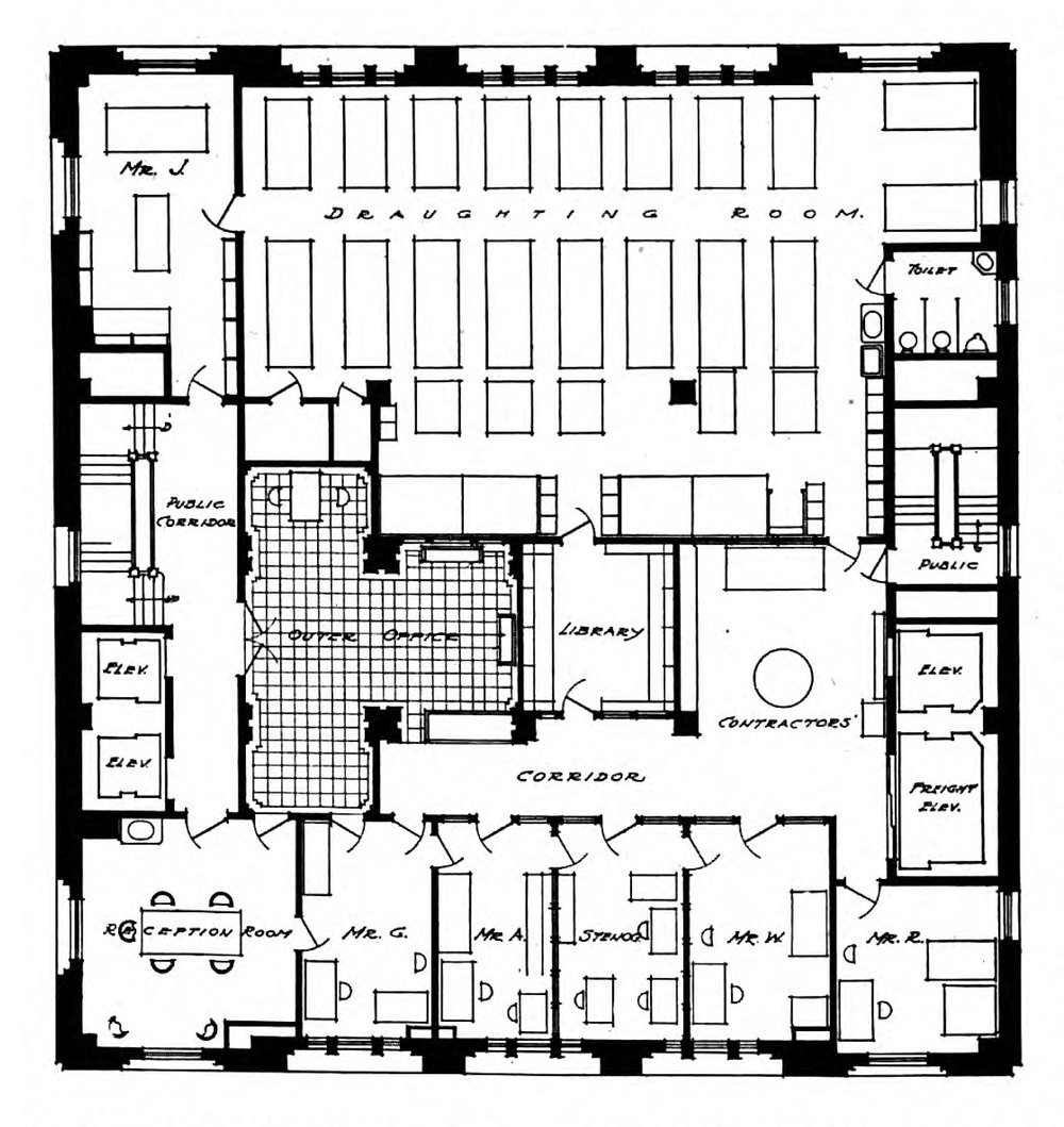 """Office of Cass Gilbert at 11 East 24th Street, New York City. Image from D. Everrett Waid, """"How Architects Work,""""  The Brickbuilder  20 (1911)."""