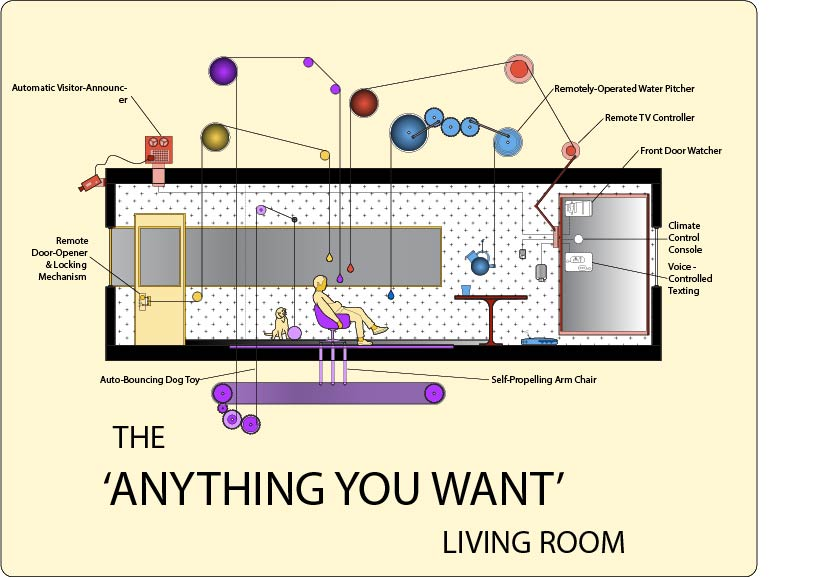 """The 'Anything You Want"""" Living Room, 2018. Drawing by Lane Rick"""