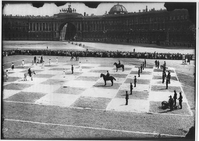 After the October Revolution many of the tsarist urban squares became centres for new, sometimes unexpected kinds of activities. Game of human chess played in Palace Square, 1924. Photograph by unknown author