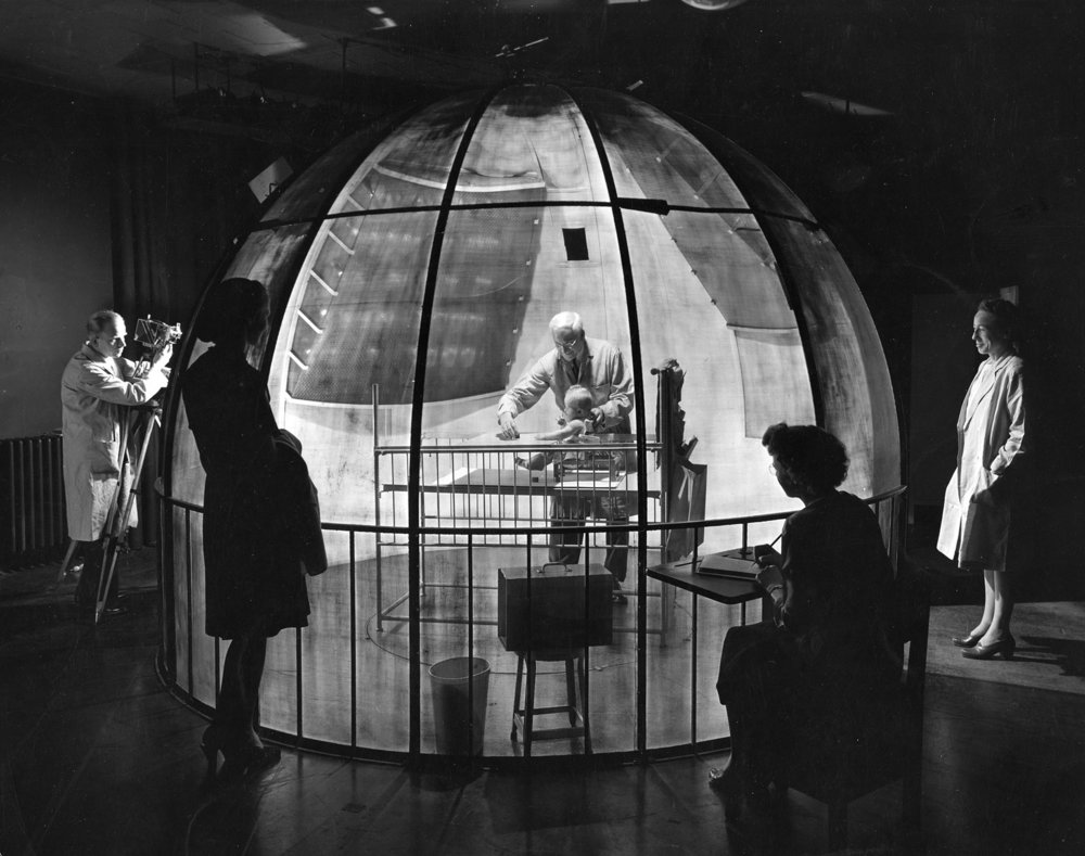 Dr. Arnold Gesell studying behaviour of six months old baby , 1947. Photograph by Herbert Gehr © Times Inc. All rights reserved