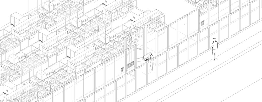 Image 5 / Glass walls separate humans and machines in the workplace. Unless necessary, engineers and even managers never cross the line to the machine zone. As humans disappear, the assembly lines are stacked closer, and assembly and storage areas are reorganized to maximize productivity in the BYD factory. Drawing by Het Nieuwe Instituut, 2018