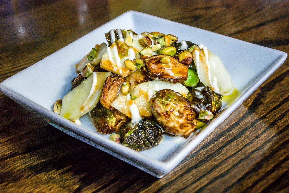 Brussel Sprouts Salad with Pears & Pistachio Nuts