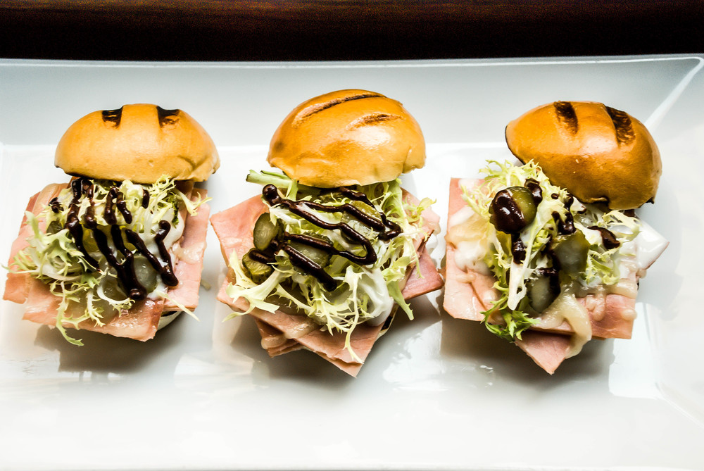 Baked Ham Sliders with Pickles & Sauce