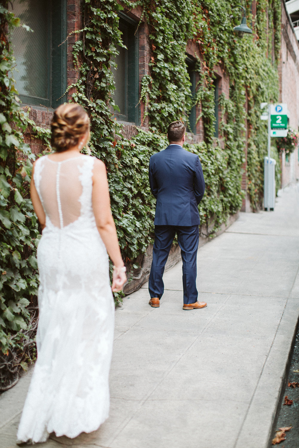 First Look Seattle Wedding Pioneer Square BHLDN Bride Photos by Reese Ferguson