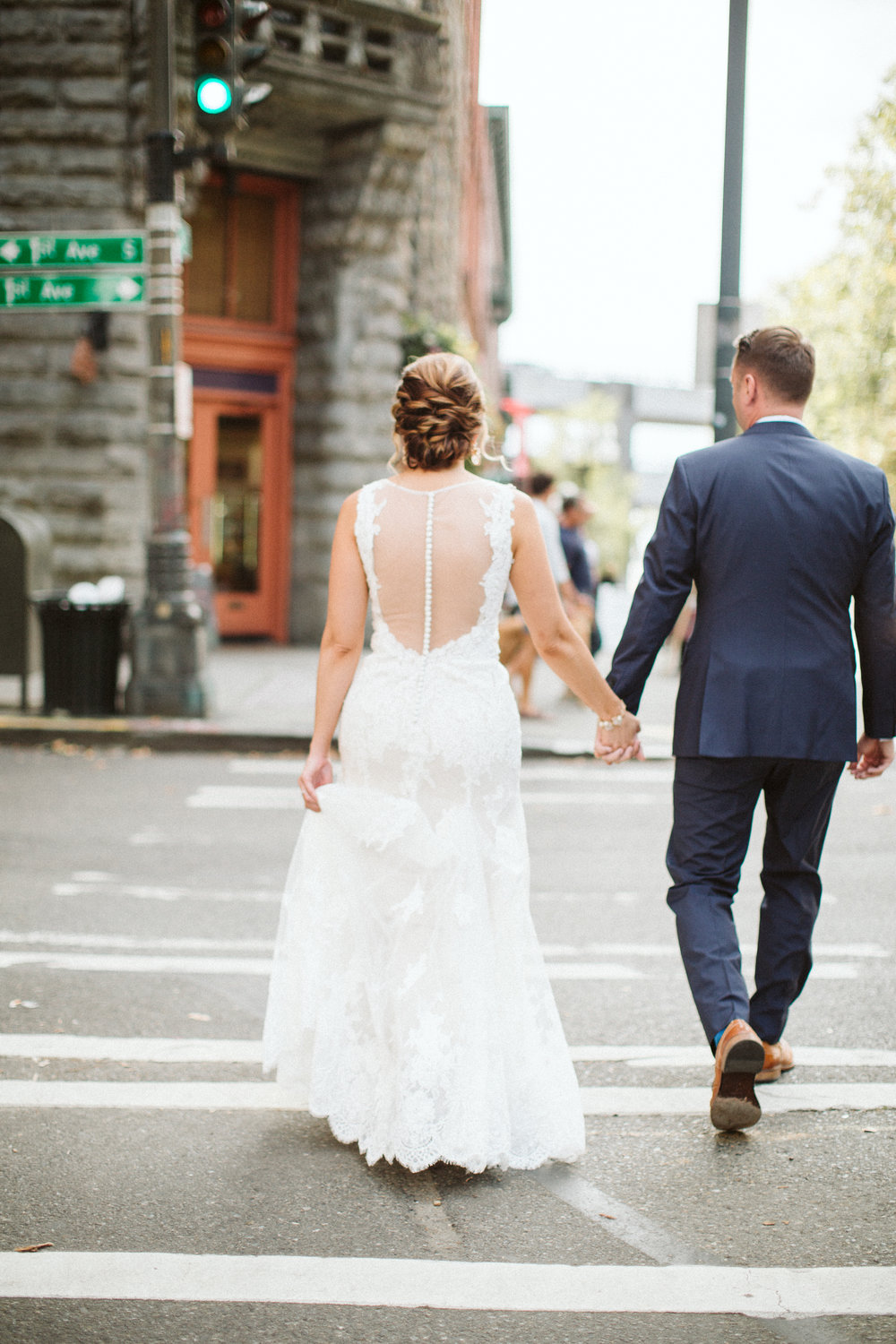 Historic Yesler Way Seattle Wedding Pioneer Square BHLDN Bride Groom Nordstrom Penguin Photos by Reese Ferguson