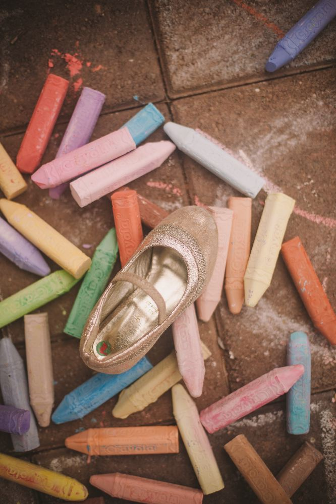 san   diego wedding photographer | child's shoe on colored chalks