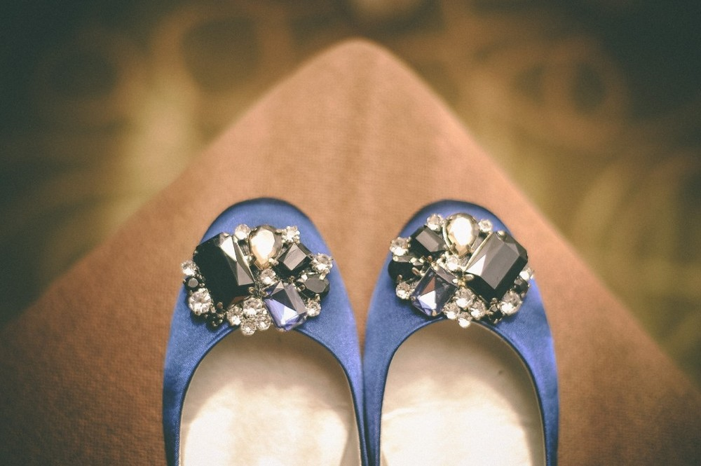 san   diego wedding photographer | blue shoes with gems on it