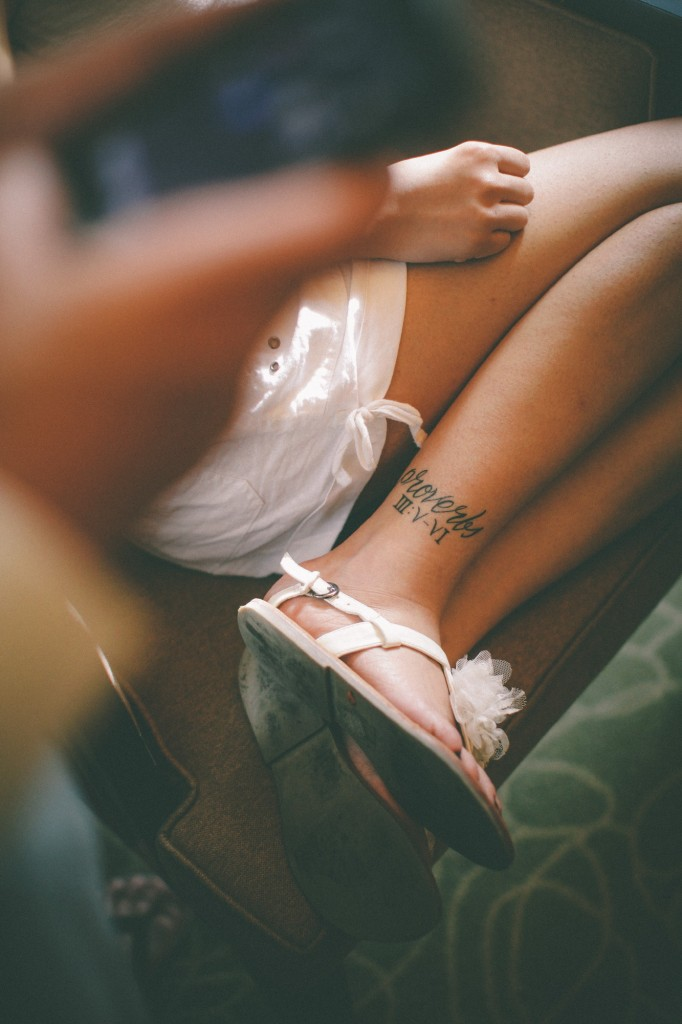 san   diego wedding photographer | woman in white dress with tattoo near ankle