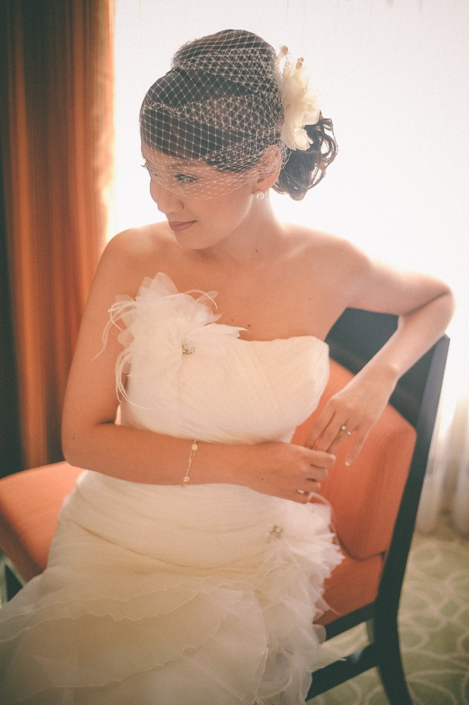 san   diego wedding photographer | bride to be with mesh veil on sitting