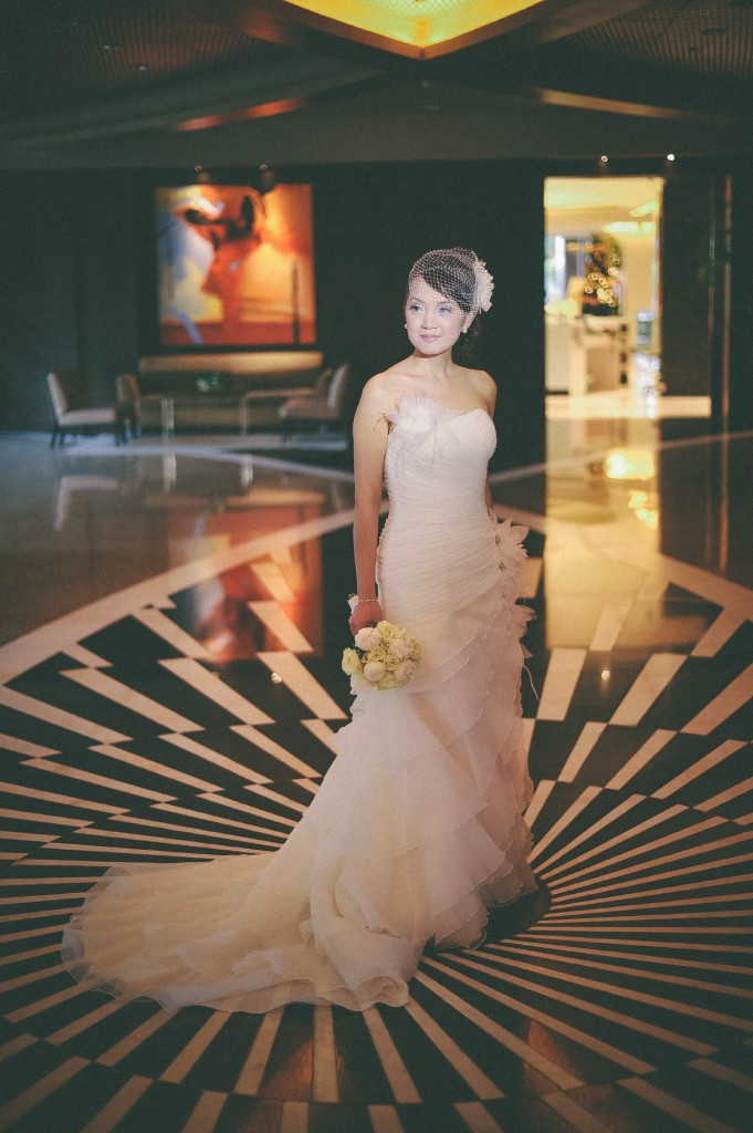 san   diego wedding photographer | bride to be in mesh veil standing in the middle   of room