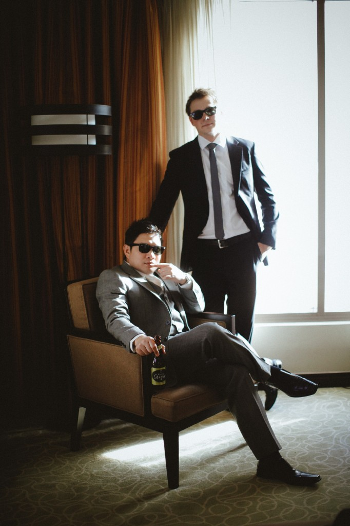 san   diego wedding photographer | groom to be and groomsman in shades posing