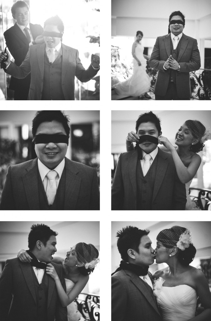 san   diego wedding photographer | monotone collage of groom in blindfold being   surprised by bride