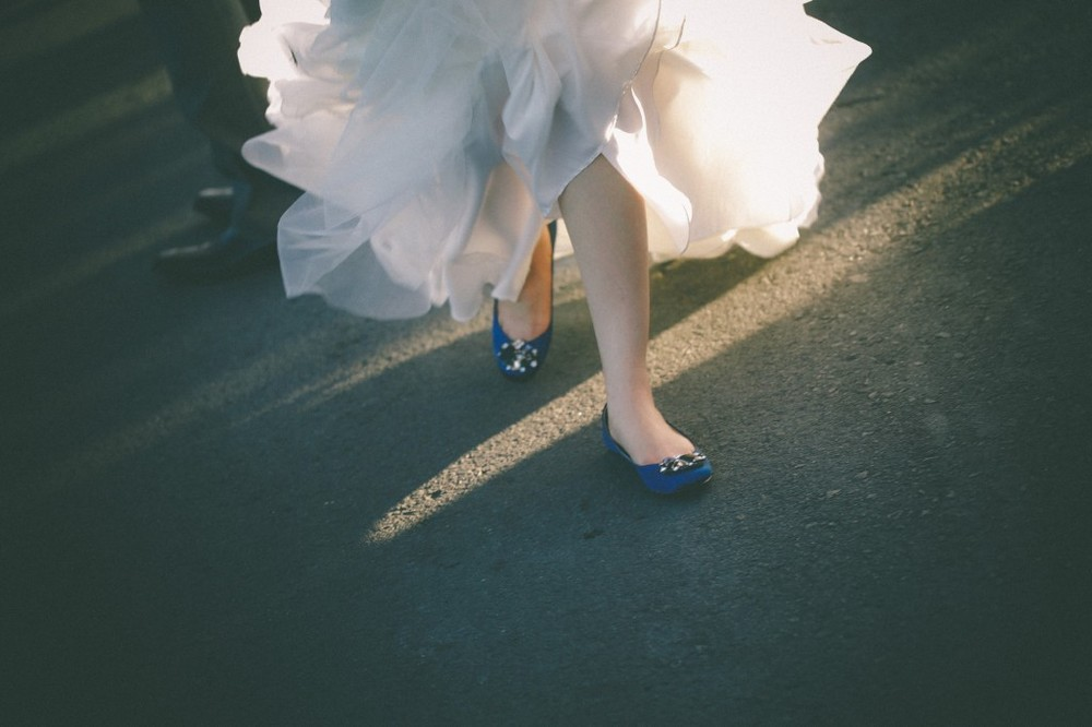san   diego wedding photographer | shot of bride's feet wearing blue shoes with   gems