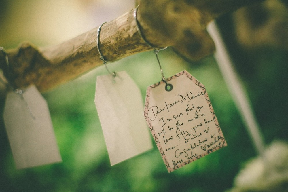 san   diego wedding photographer | closeup shot of letters written on tags