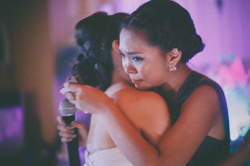 san   diego wedding photographer | woman about to cry hugging bride