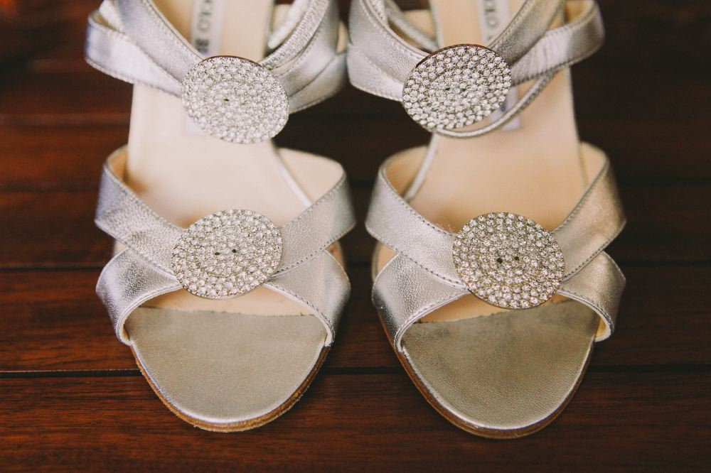 san   diego wedding photographer   closeup of silver heels with gems