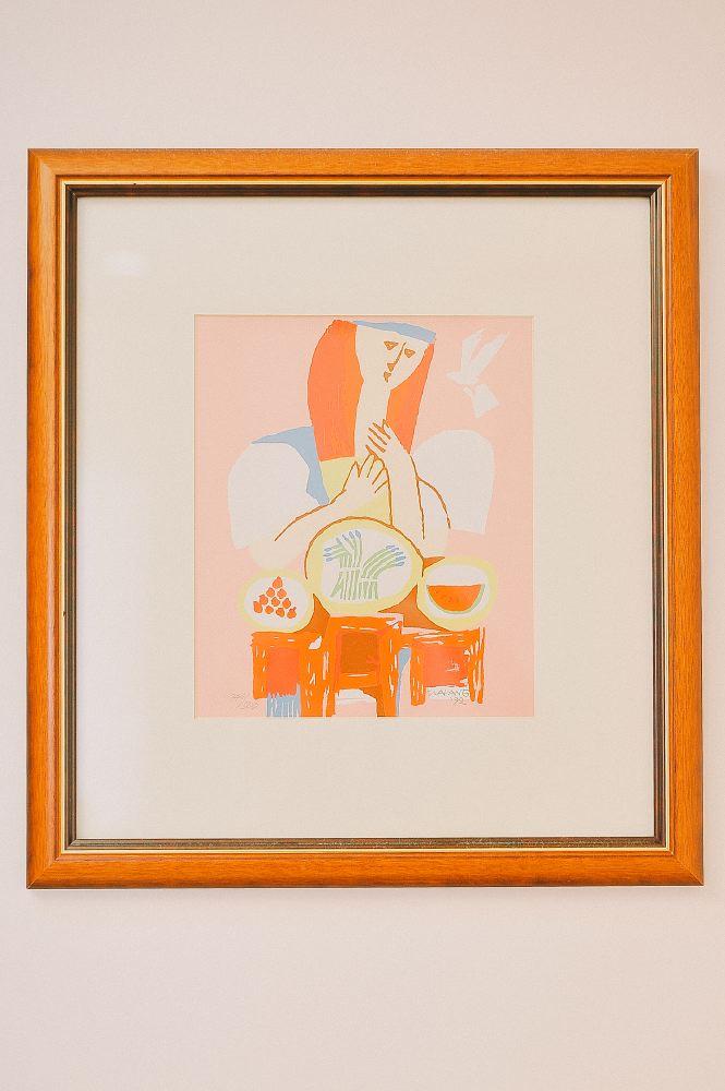 san   diego wedding photographer | orange painting on egg shell white wall