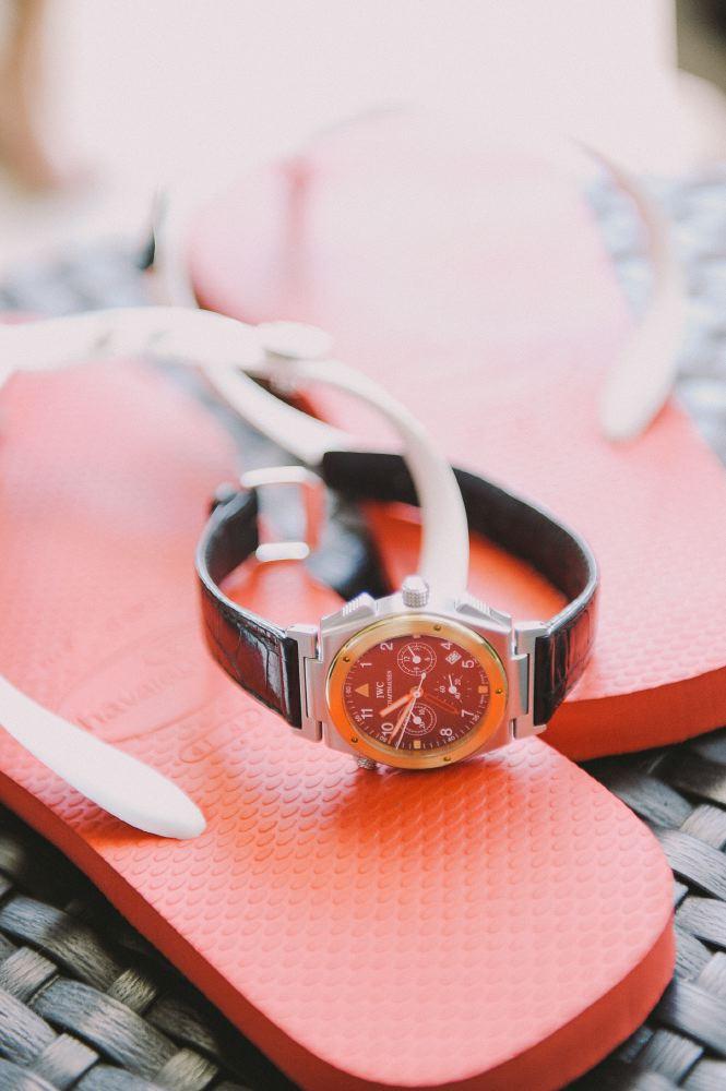 san   diego wedding photographer | watch on a pair of flipflops